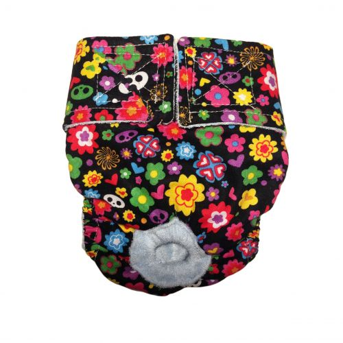 skelanimals flowers on black diaper