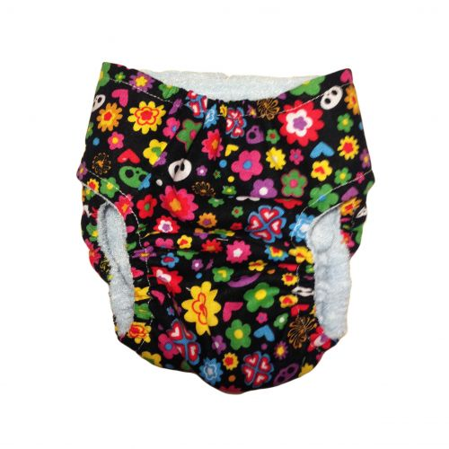 skelanimals flowers on black diaper - back
