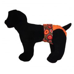 Starblast on Orange Polka Dot Washable Dog Diaper