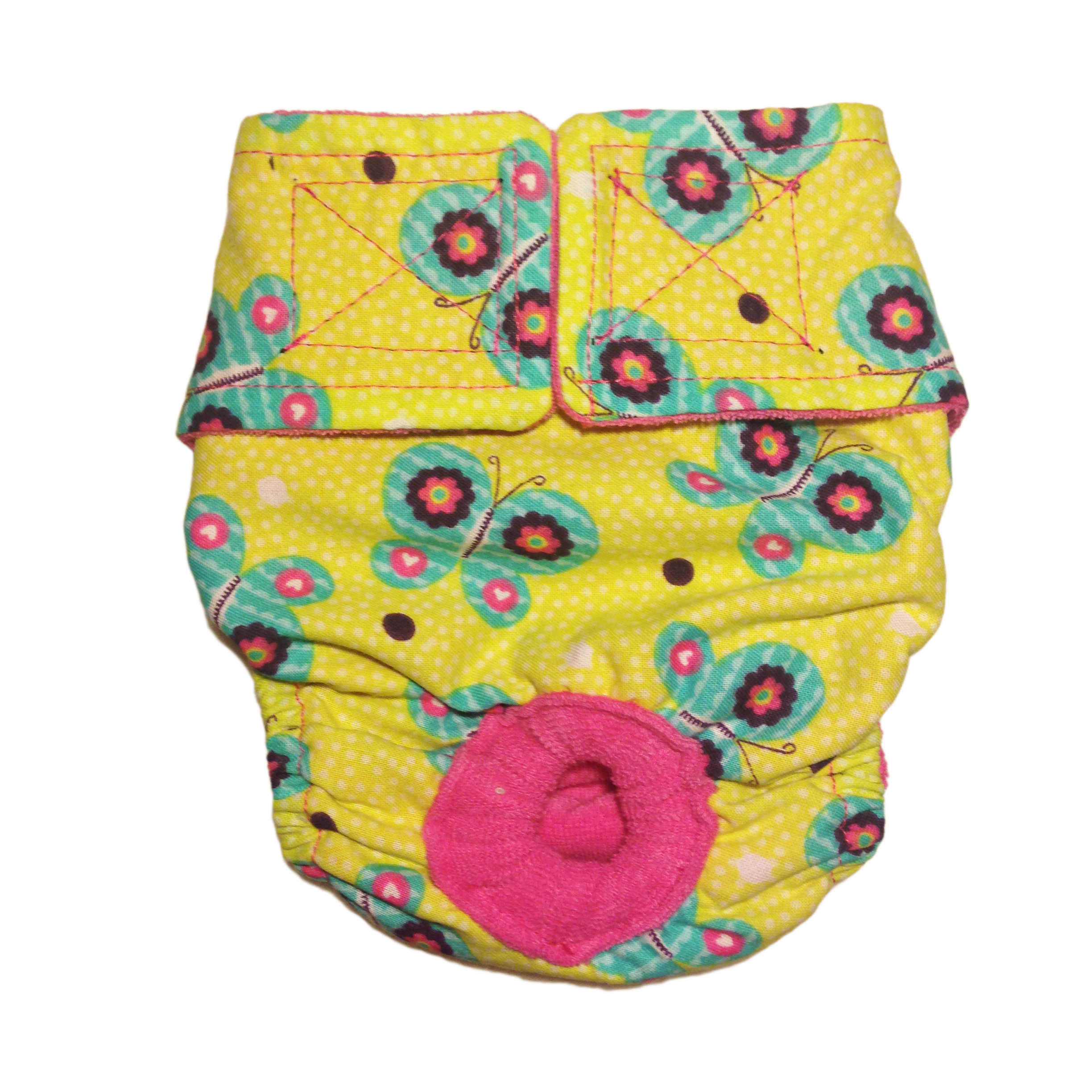 Barkertime Butterfly Flower On Yellow Washable Cat Diaper