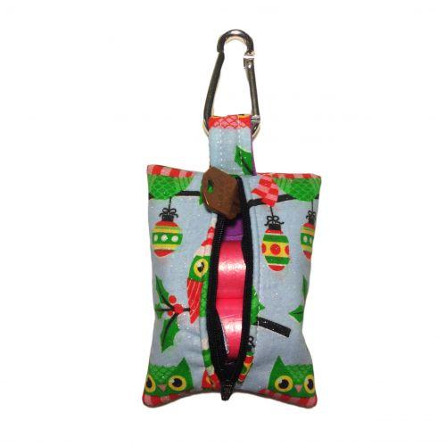 christmas owl with glitter poop bag dispenser - back open