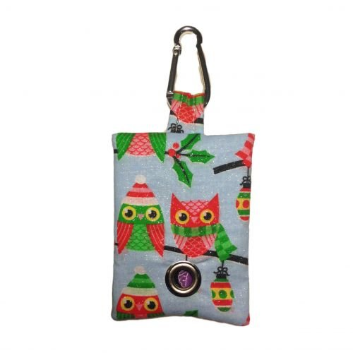 christmas owl with glitter poop bag dispenser - front