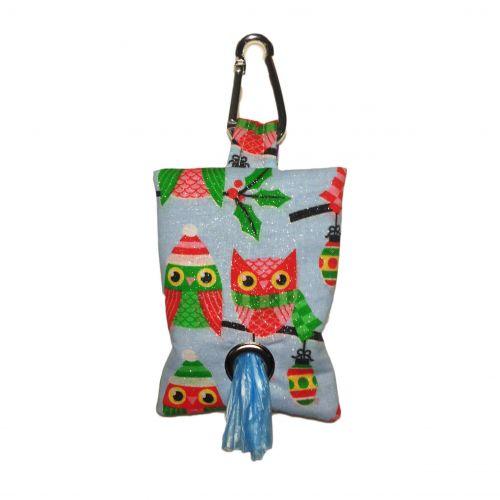 christmas owl with glitter poop bag dispenser