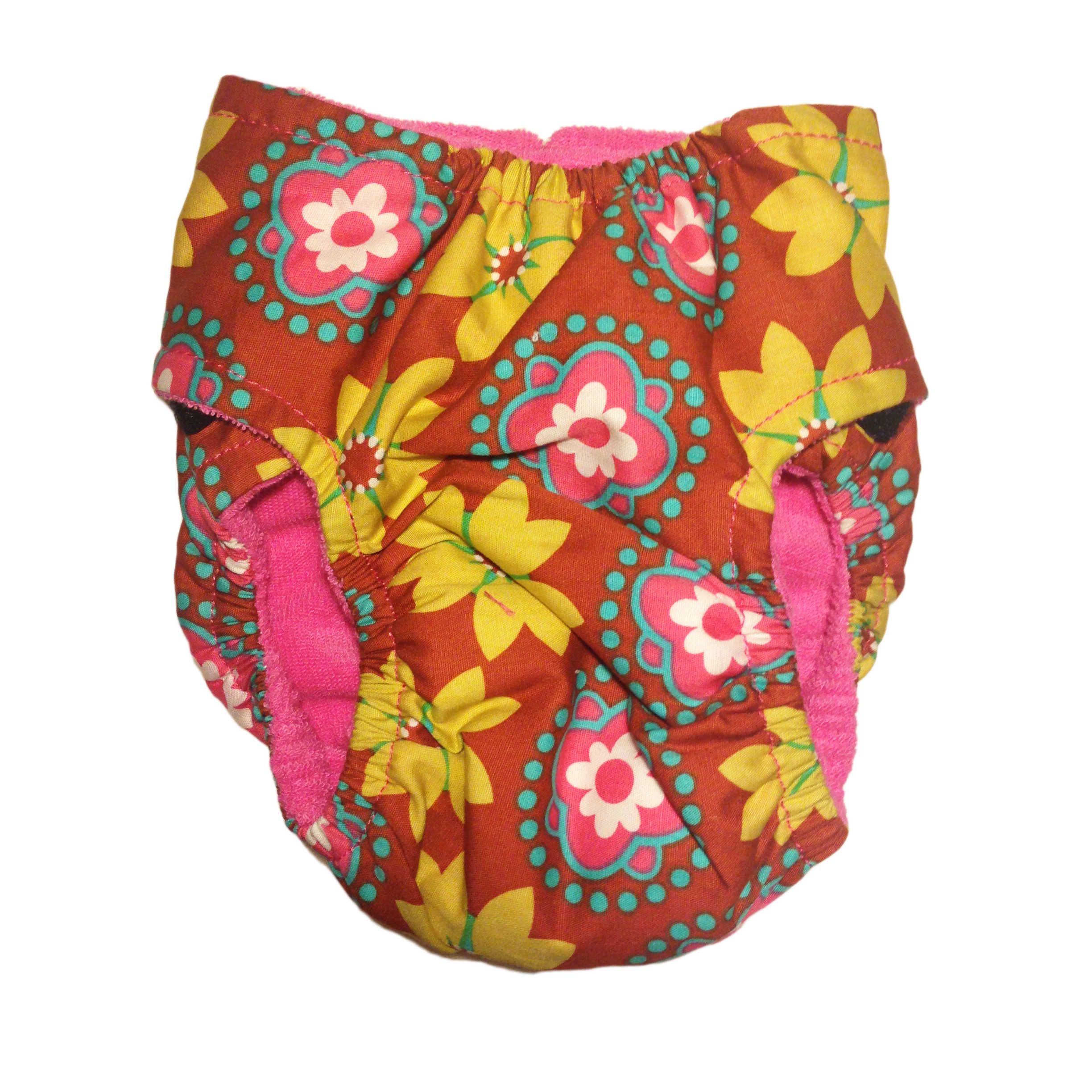 Barkertime Forever Flower On Orange Washable Dog Diaper