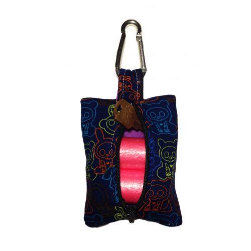 neon skelanimal on blue poop bag dispenser - back open