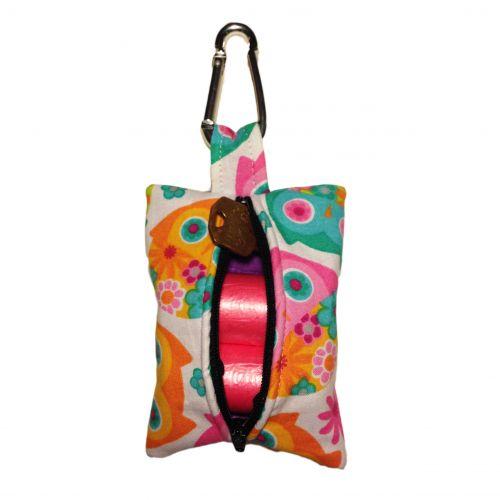 pink owl poop bag dispenser - back open