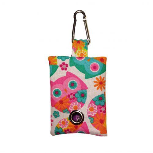 pink owl poop bag dispenser - front