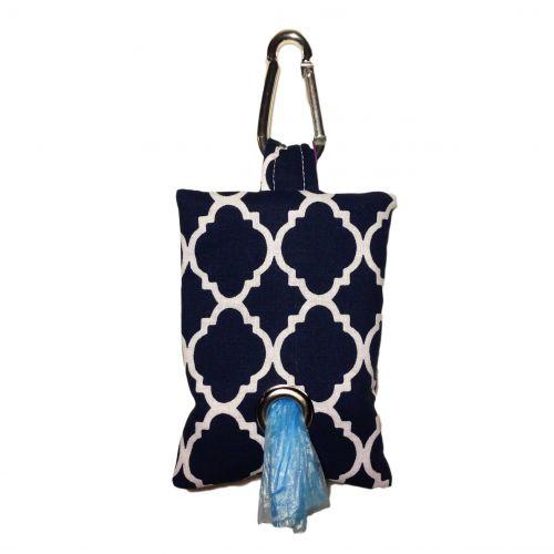 quatrefoil white on blue poop bag dispenser