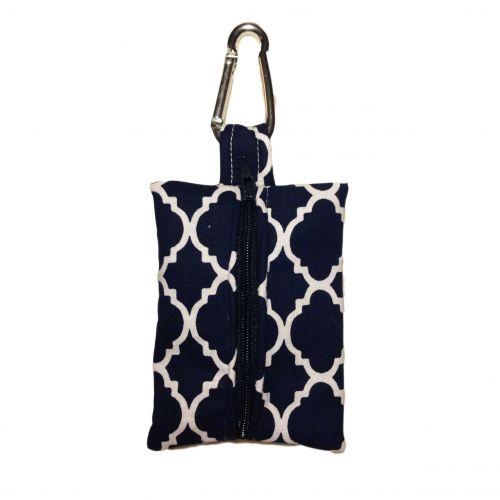 quatrefoil white on blue poop bag dispenser - back