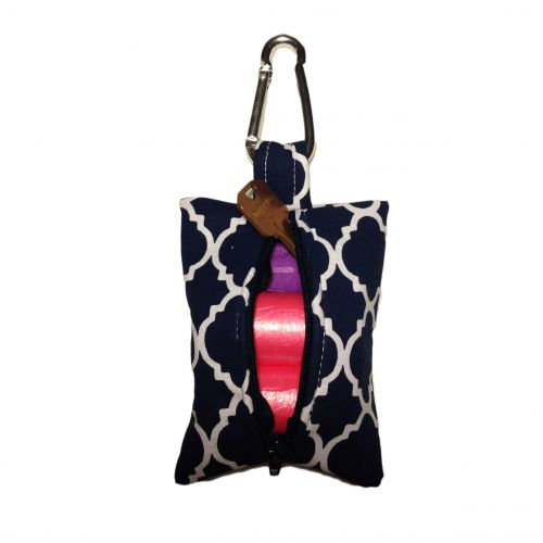 quatrefoil white on blue poop bag dispenser - back open