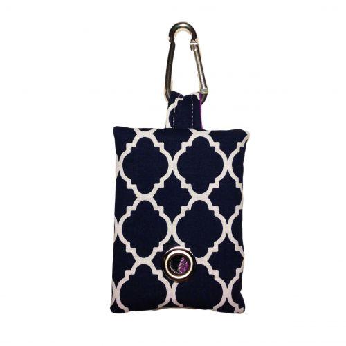 quatrefoil white on blue poop bag dispenser - front
