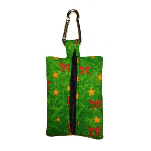 red bow on green christmas tree poop bag dispenser - back