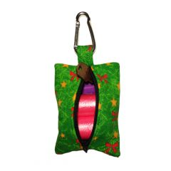 Red Bow on Green Christmas Tree Dog Poop Bag Dispenser