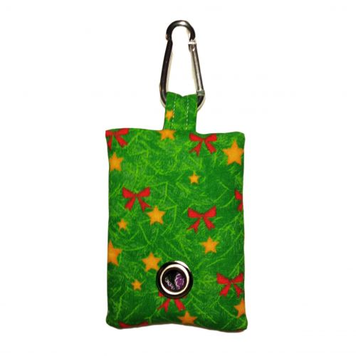 red bow on green christmas tree poop bag dispenser - front