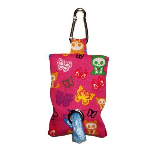 skelanimals and butterfly on pink poop bag dispenser