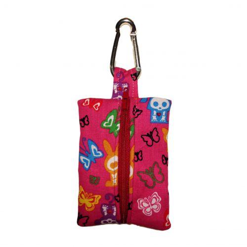 skelanimals and butterfly on pink poop bag dispenser - back