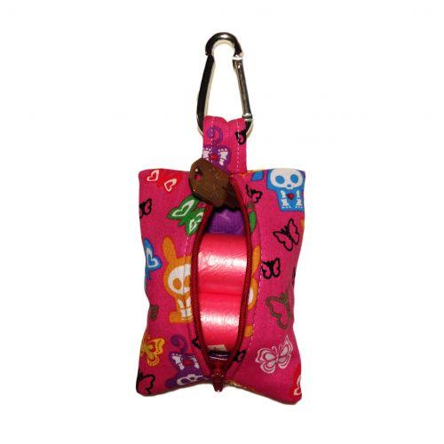 skelanimals and butterfly on pink poop bag dispenser - back open