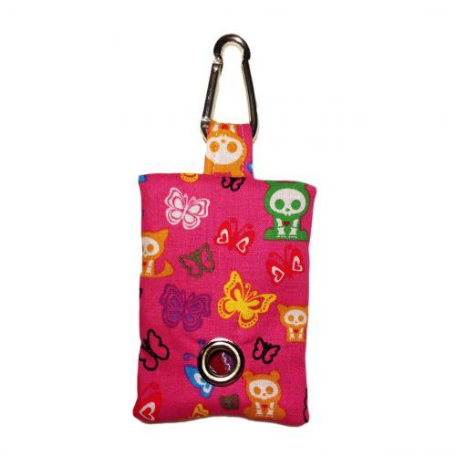 skelanimals and butterfly on pink poop bag dispenser - front