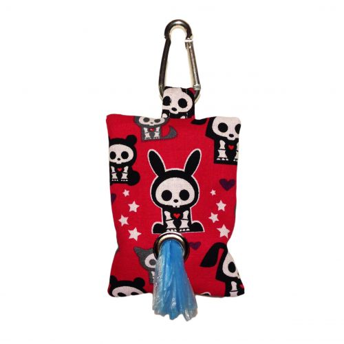 skelanimals on red poop bag dispenser