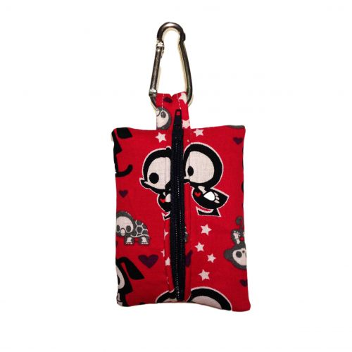 skelanimals on red poop bag dispenser - back