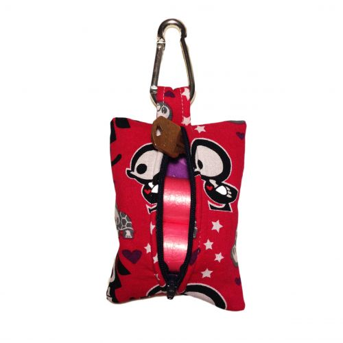 skelanimals on red poop bag dispenser - back open