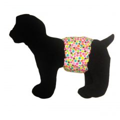 Colorful Polka Dot on White Washable Dog Belly Band Male Wrap