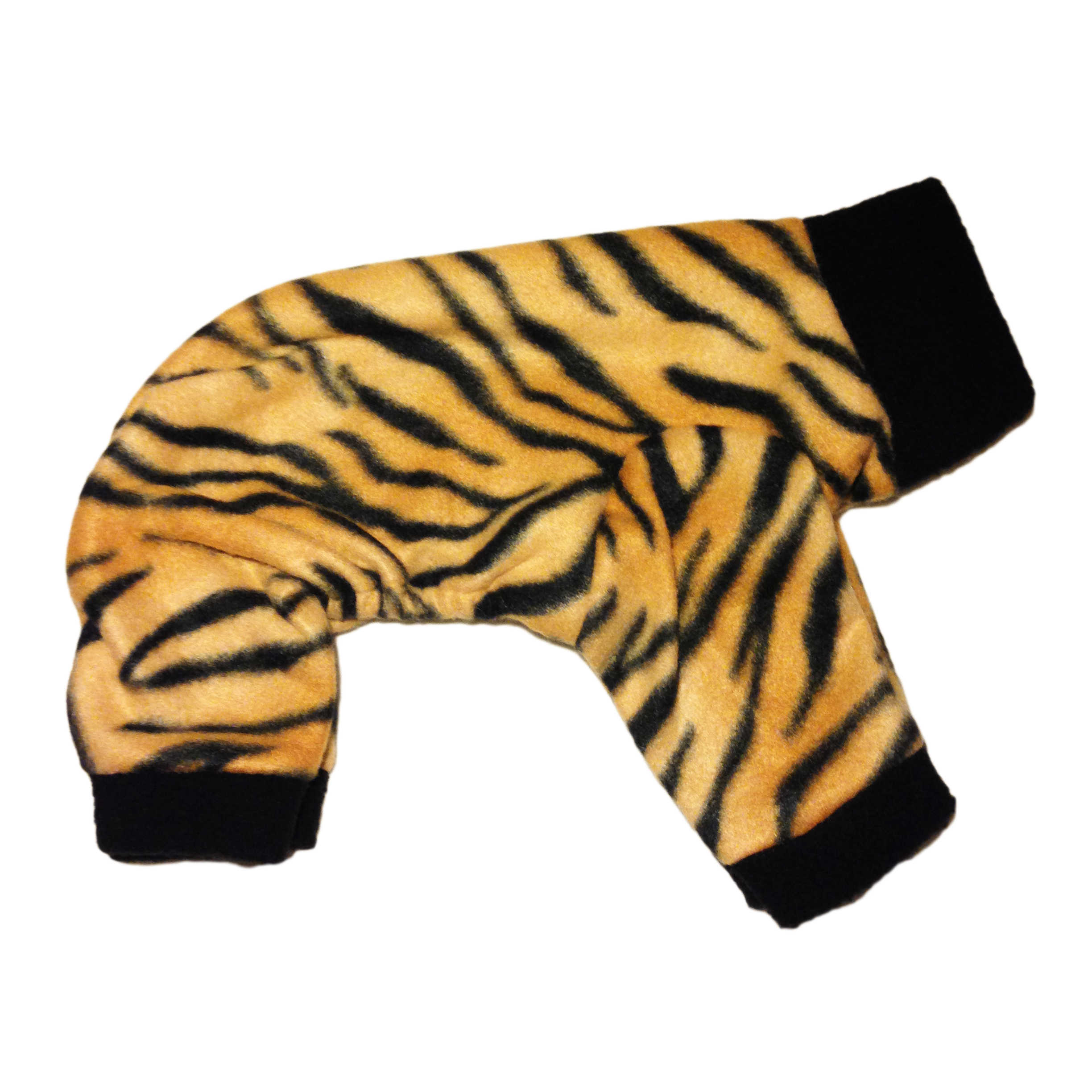 Tiger Dog Pajama on Four Legged Cat Body Harness With Leash