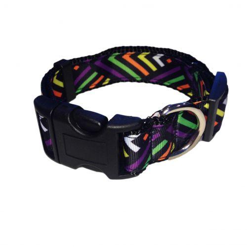 neon stripes on black collar
