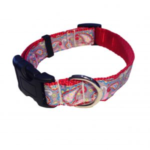 Red Paisley Flower on Gray Collar