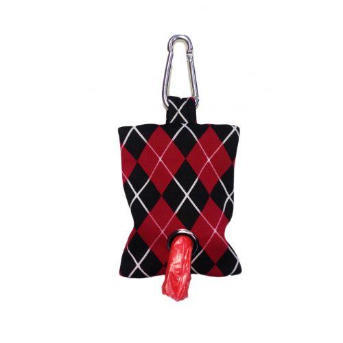 red argyle poop bag