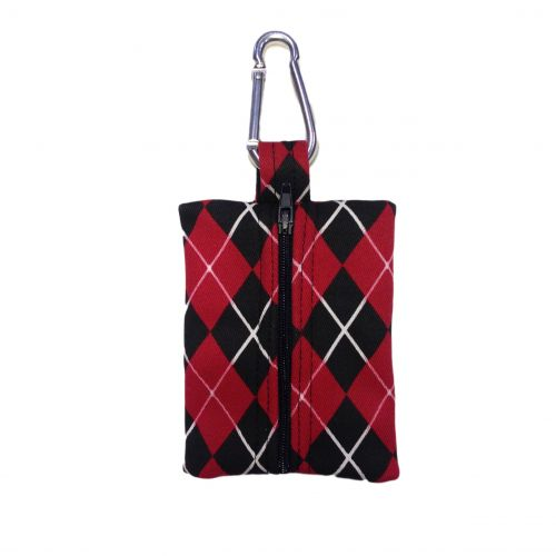 red argyle poop bag - back