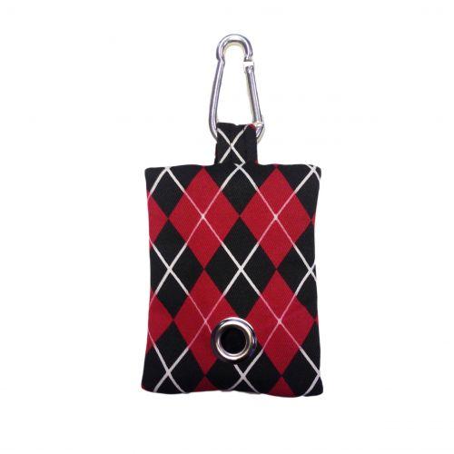 red argyle poop bag - front