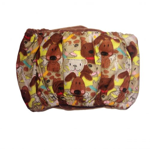 brown doggie with bones belly band - back