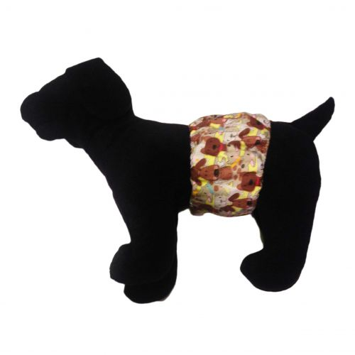 brown doggie with bones belly band - model 1