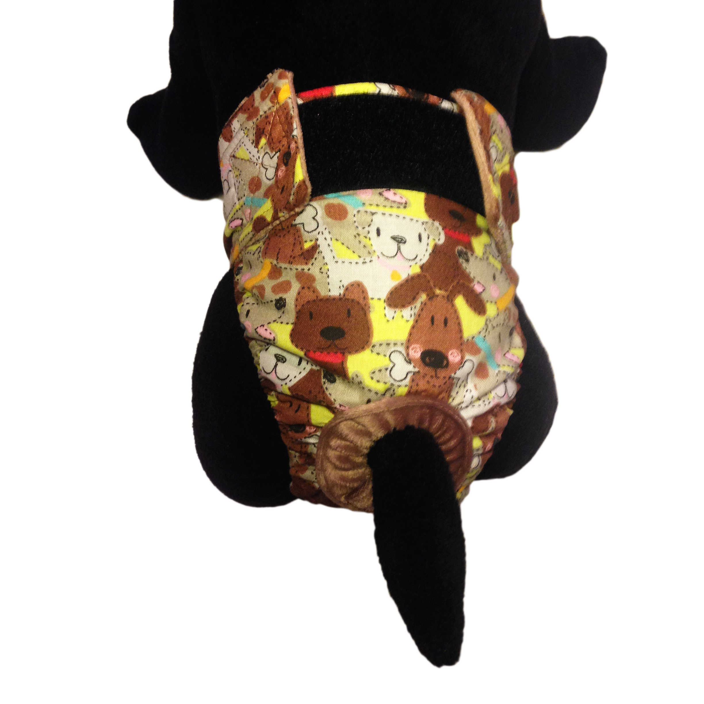 Barkertime Brown Doggie With Bones Washable Dog Diaper