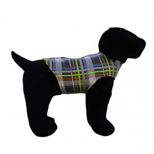 Gray Plaid Neon Stripes Dog Harness Vest