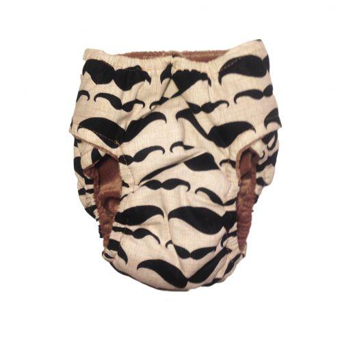 mustache diaper - back