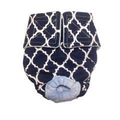 White Quatrefoil on Blue Washable Dog Diaper