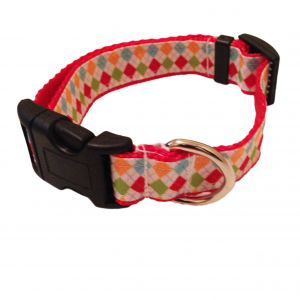 Argyle on White Dog Collar