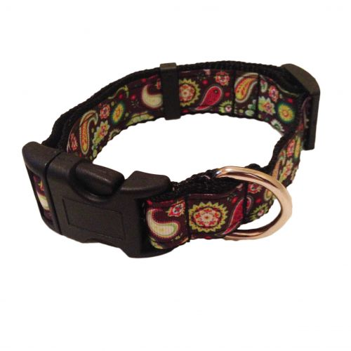 paisley flower on dark brown collar