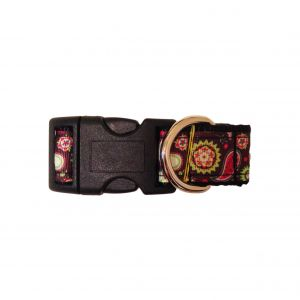 Paisley Flower on Dark Brown Dog Collar