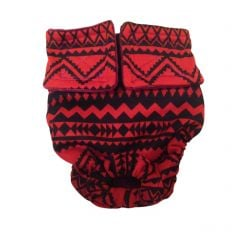 Red and Black Southwest Washable Cat Diaper