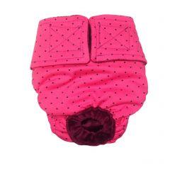 Black Polka Dot on Pink Washable Cat Diaper