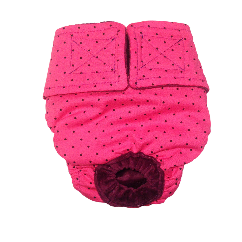 Barkertime Black Polka Dot On Pink Washable Dog Diaper