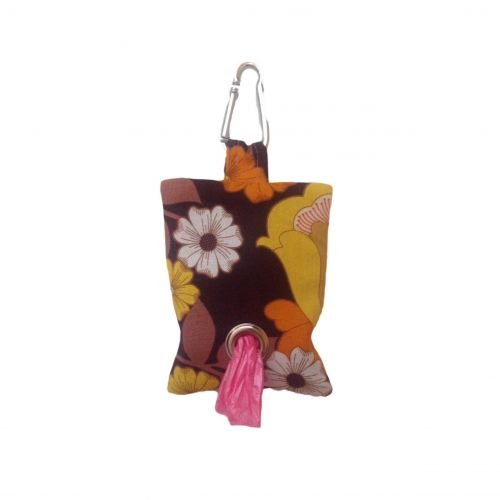 brown and yellow flowers  poop bag holder