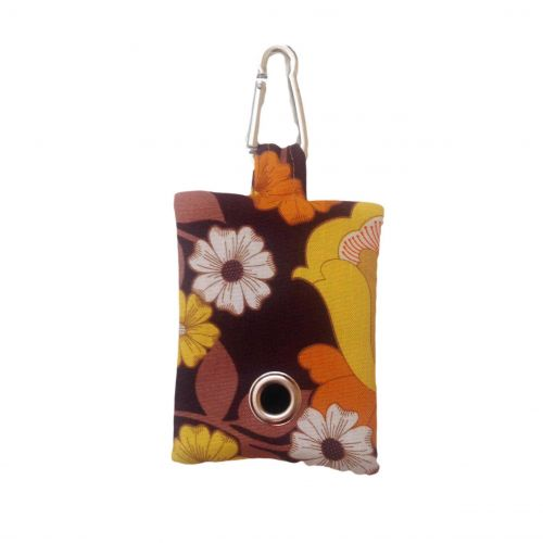 brown and yellow flowers  poop bag holder - empty front