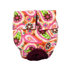 Paisley Flower on Pink Washable Cat Diaper