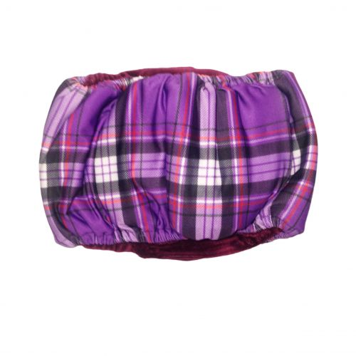 purple plaid belly band - back