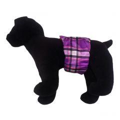Purple Plaid Washable Dog Belly Band Male Wrap