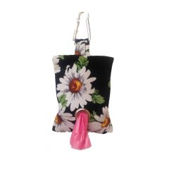 White Daisy Flower on Black Dog Poop Bag Dispenser